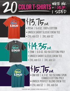 T Shirt Pricing 3